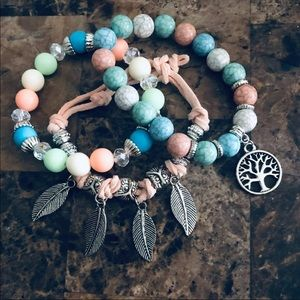 Charm stacking bracelets • 🦉🏹 multi light colors